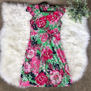 Lilly Pulitzer Rose Floral Print V-Neck Dress